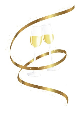 silvester: Golden ribbon and champagne glasses