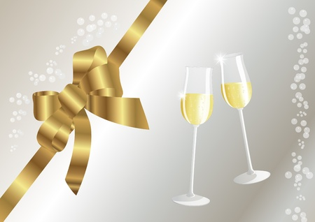 silvester: Champagne glasses and golden bow