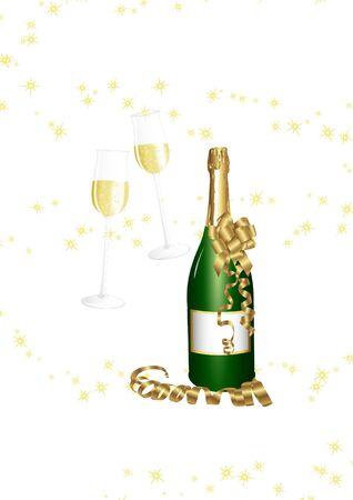 silvester: Champagne bottle Illustration