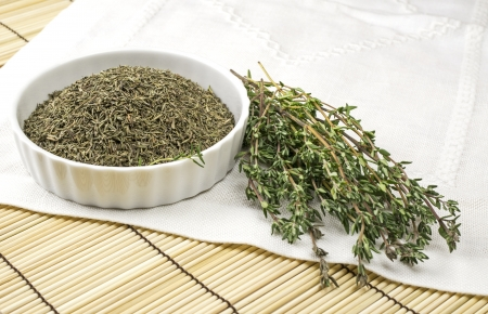 Dried and fresh thyme Stock Photo