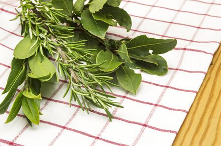 bay leaf: Bay leaf and rosemary Stock Photo