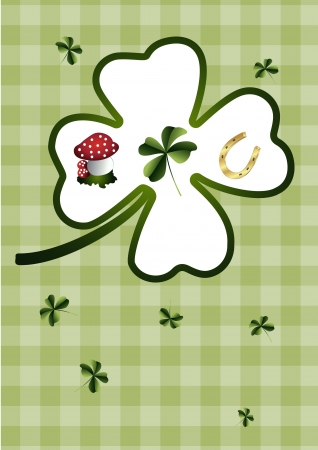 good luck charm: Shamrock and lucky charms Illustration