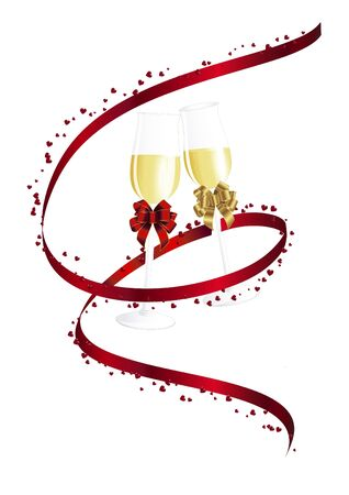 silvester: Champagne and red ribbon  Illustration