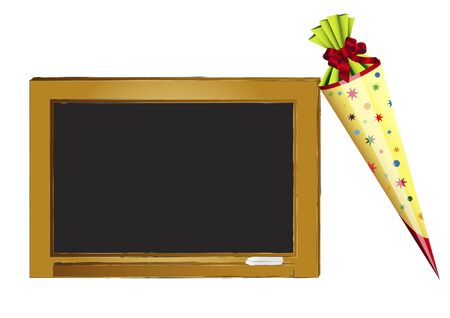 first day of school: Blackboard and present for first school day