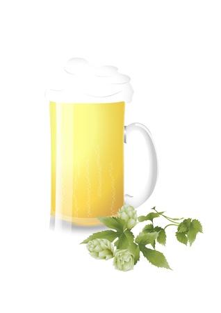 brewage: Beer mug and fresh hop