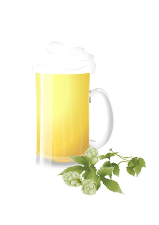 stein: Boccale di birra e luppolo fresco Vettoriali
