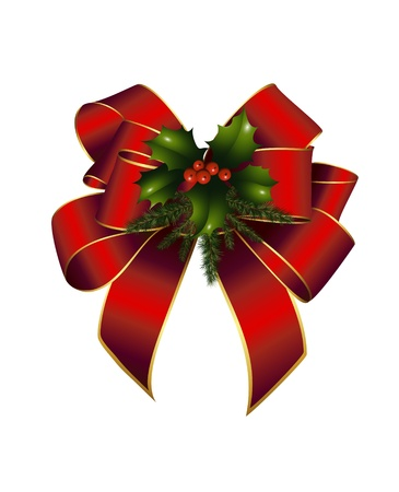 fir twig: Red bow, holly and fir twig