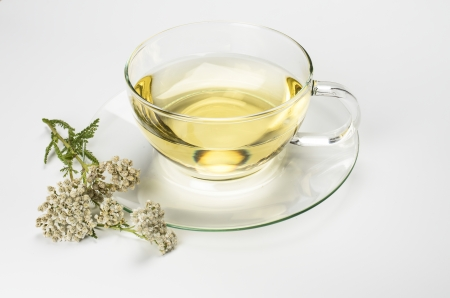 milfoil: Glasscup with herbal tea