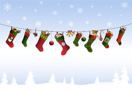 Christmas stockings on a line Illustration