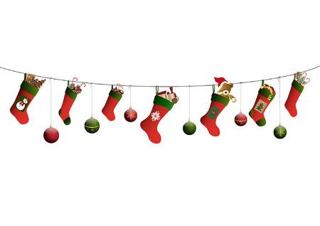 Christmas tree balls and christmas stockings Illustration