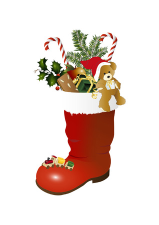 Christmas stocking and teddy bear Illustration