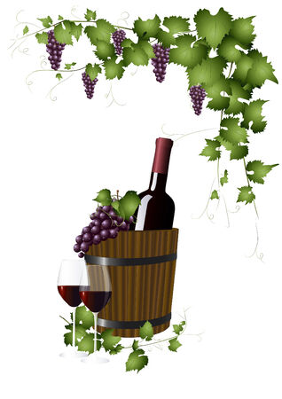 wooden bucket: Bottle with red wine in a wooden bucket Illustration