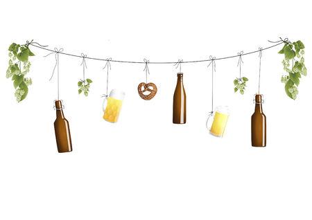 chope biere: Les bouteilles de bi�re sur un clothline