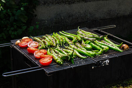 Tomatos and paprika on a grill