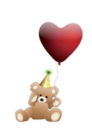 valentine s day teddy bear: Teddy with a heart balloon Illustration