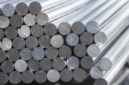 aluminum rod: Stack of round aluminum rod Stock Photo
