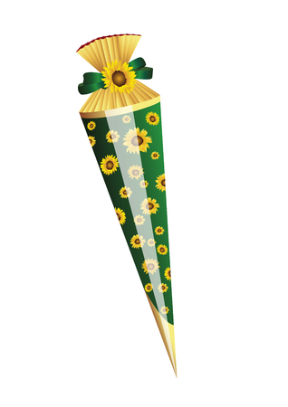 first day of school: Present for first school day with sunflowers Illustration