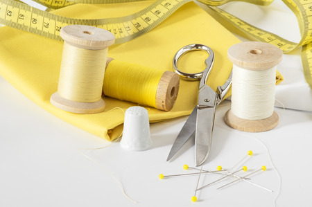 sewing tools: Sewing tools in yellow Stock Photo