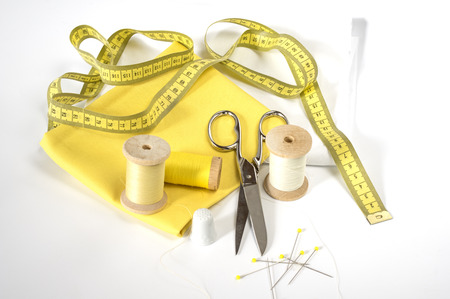 Measuring tape and sewing tools Stock Photo