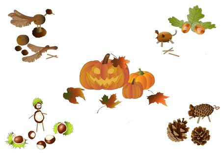 pinecone: Handicraft in autumn Illustration