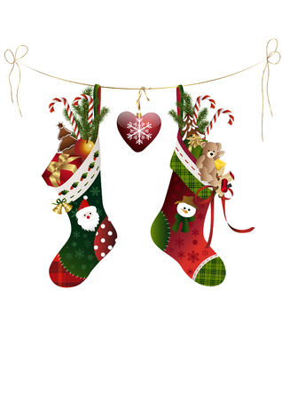 Christmas Stockings on a line Illustration