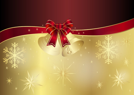 christmas snowflakes: Christmas card in red and gold