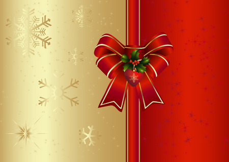 red bow: Red bow with ilex Illustration