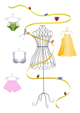 measuring tape: Dress form and measuring tape Illustration