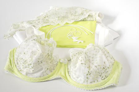 undergarment: Sewing bra - fabrics and accessories Stock Photo