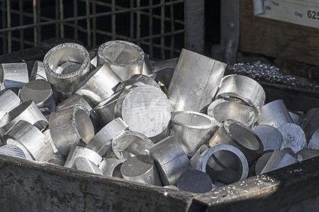 aluminum: Container with aluminum scraps Stock Photo