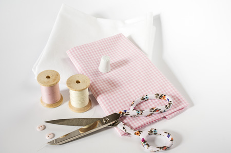 plain button: Sewing accessories in pink and white