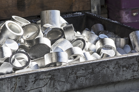 aluminum: Aluminum for recycling in a container Stock Photo