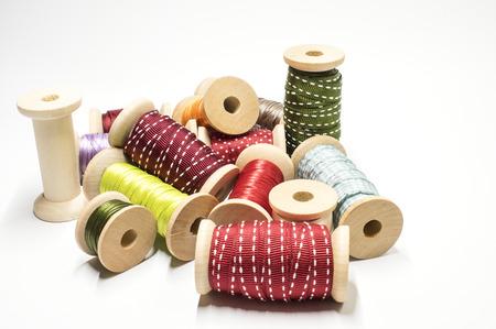Heap of ribbon spools