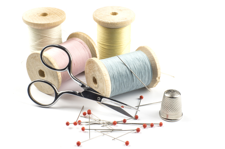 Scissors and sewing threads