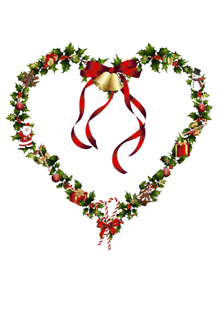 Christmas heart with ilex and decoration Illustration
