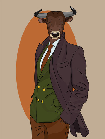 Bull man dressed up in suit and coat. Vintage fashion. Anthropomorphic vector illustration eps8  イラスト・ベクター素材