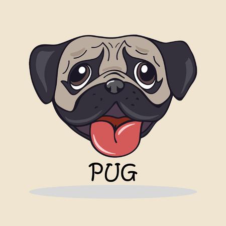 Mano dibujo animado hecho cabeza de perro pug. eps8 de ilustración vectorial Foto de archivo - 53057772