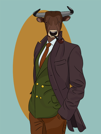 anthropomorphic: Bull man with smoking pipe dressed up in suit and coat. Vintage fashion. Anthropomorphic vector illustration