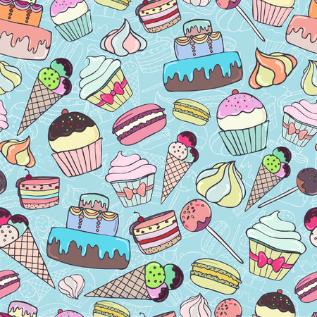 Seamless pattern with colorful sweets and pastry on blue background. Cupcake, macaroon, cake, ice cream. Vector illustration