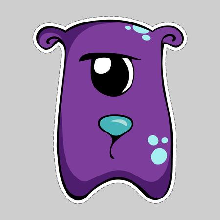 one eyed: Cartoon purple sad monster sticker. Vector illustration