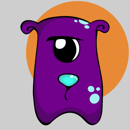 one eyed: Cartoon purple sad monster. Vector illustration