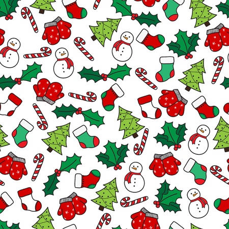 white stockings: Cartoon christmas seamless pattern with stockings, mittens, candy cane, holly berries, snowman and with xmas tree. Hand drawn doodles on white background. Vector illustration