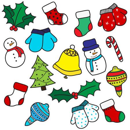 다채로운 손 drawh 만화 세트 크리스마스 요소 - 스타킹, 장갑, 사탕 지팡이, 홀리 장과, 장식품, 벨, 눈사람, 크리스마스 트리. 벡터 일러스트 레이 션