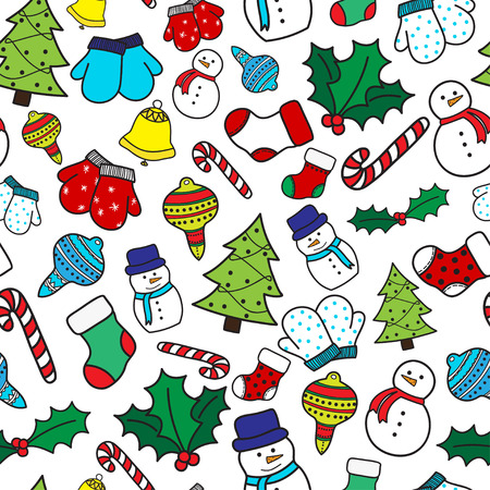 white stockings: Cartoon christmas seamless pattern with stockings, mittens, candy cane, holly berries, ornaments, bells, snowman and with xmas tree. Hand drawn doodles on white background. Vector illustration