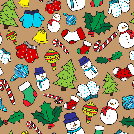 hand bells: Cartoon christmas seamless pattern with stockings, mittens, candy cane, holly berries, ornaments, bells, snowman and with xmas tree. Hand drawn doodles on beige background. Vector illustration Illustration