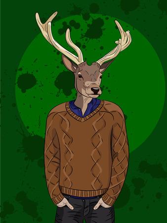 anthropomorphism: Deer man in brown sweater on green background. Hand drawn vector illustration Illustration