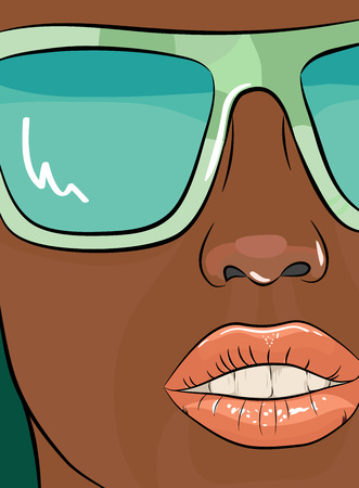 undressing: Sensual woman face with glasses. Vector illustration Illustration