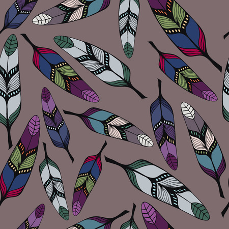 etno: Seamless vector pattern of colorful hand-drawn tribal feathers on gray background. Illustration