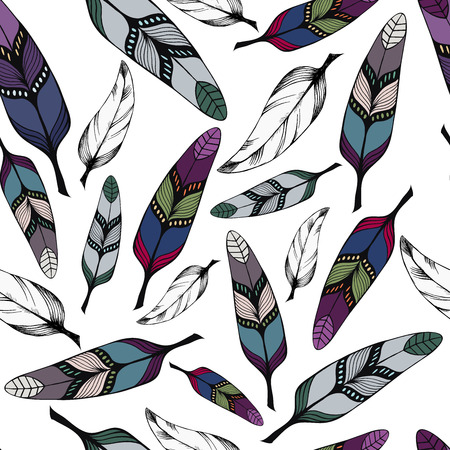 wite: Seamless pattern with colorful hand-drawn tribal feathers on wite background. Vector illustration