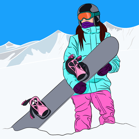 snowboarder: Female snowboarder hold snowboard against winter mountains background. Vector illustration